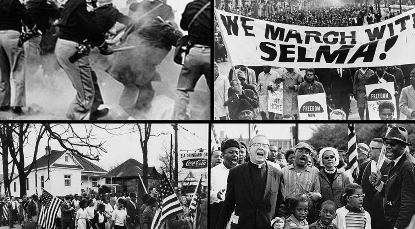 """In many cases, the same baseless and thinly-veiled rationales used to challenge ballot access in the 1960s are resurfacing today in support of these efforts to shrink our democracy. Top left: Alabama police attack Selma to Montgomery marchers, known as """"Bloody Sunday,"""" in 1965 Top right: Marchers carrying banner """"We march with Selma!"""" on street in Harlem, New York City, New York in 1965 Bottom left: Participants in the Selma to Montgomery march in Alabama during 1965 Bottom right: Dr. Martin Luther King, Dr. Ralph David Abernathy, their families, and others leading the Selma to Montgomery march in 1965 (Photos: Wikimedia Commons)"""