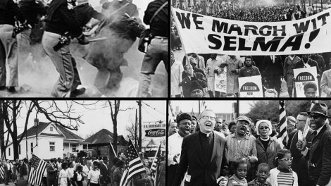 "In many cases, the same baseless and thinly-veiled rationales used to challenge ballot access in the 1960s are resurfacing today in support of these efforts to shrink our democracy. Top left: Alabama police attack Selma to Montgomery marchers, known as ""Bloody Sunday,"" in 1965 Top right: Marchers carrying banner ""We march with Selma!"" on street in Harlem, New York City, New York in 1965 Bottom left: Participants in the Selma to Montgomery march in Alabama during 1965 Bottom right: Dr. Martin Luther King, Dr. Ralph David Abernathy, their families, and others leading the Selma to Montgomery march in 1965 (Photos: Wikimedia Commons)"